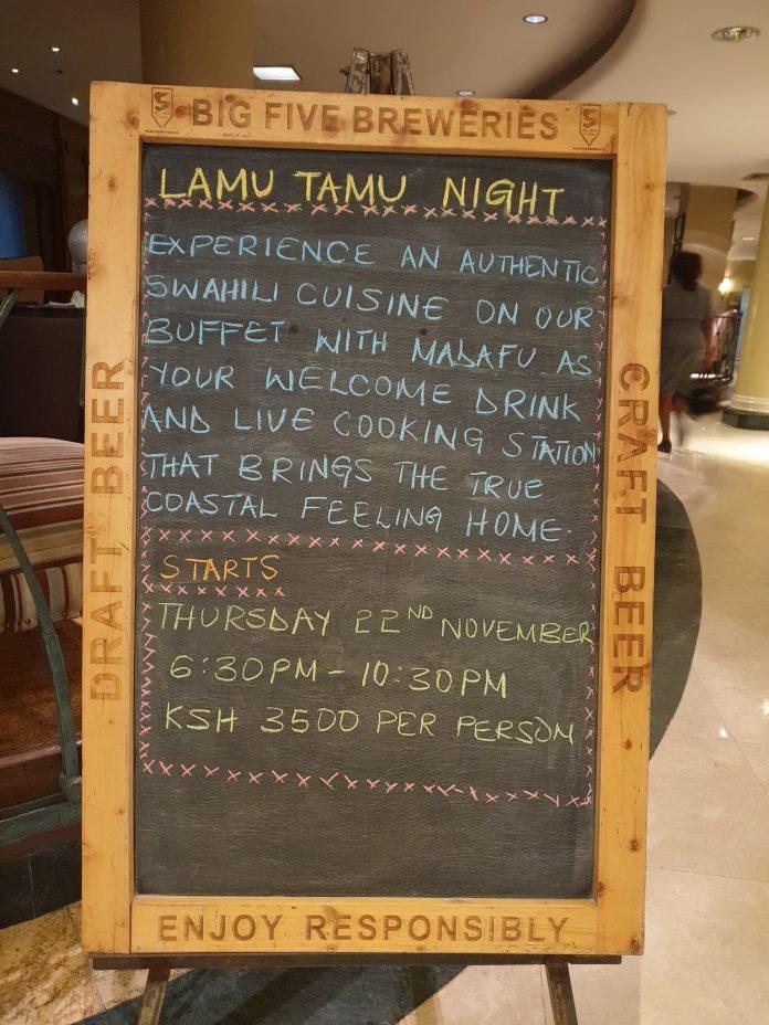 Lamu Tamu Night At The Intercontinental Hotel Nairobi